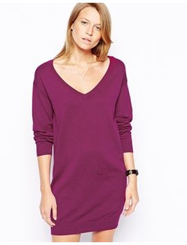 asos-fine-knit-dress-with-v-neck by asos-collection