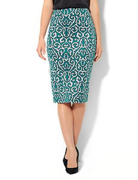 7th-avenue-suiting-collection---scuba-midi-skirt---scroll-print by new-york-&-company