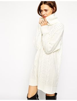 asos-cable-sweater-dress-with-roll-neck by asos-collection