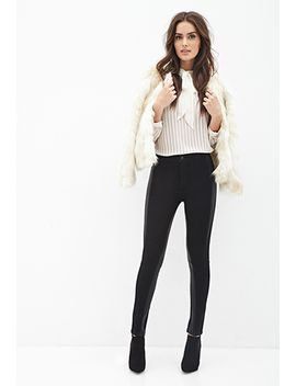 contemporary-faux-leather-paneled-jeans by forever-21