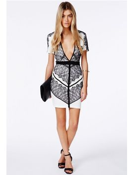 adelais-v-neck-bodycon-mini-dress-with-eyelash-lace by missguided