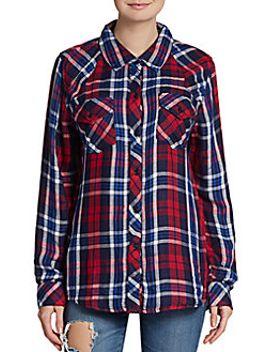 kendra-contrast-cuff-plaid-shirt_red by rails