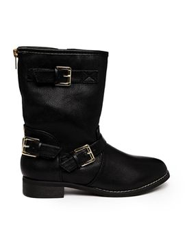 truffle-buckle-detail-biker-boots by shoes