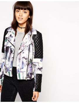 asos-faux-leather-biker-jacket-with-floral-print by asos-collection