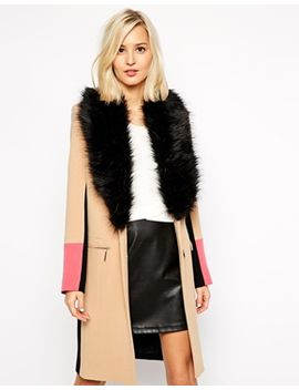 river-island-color-block-coat-with-faux-fur-collar by river-island