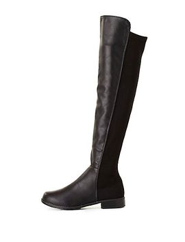 bamboo-stretchy-flat-knee-high-boots by charlotte-russe