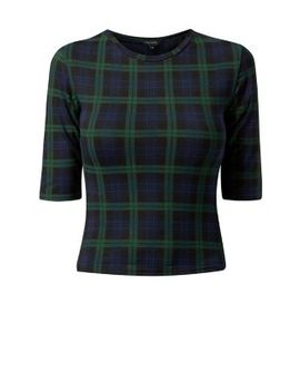 green-tartan-check-fitted-t-shirt by new-look