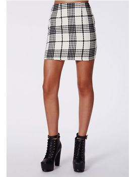ann-check-textured-mini-skirt-white by missguided