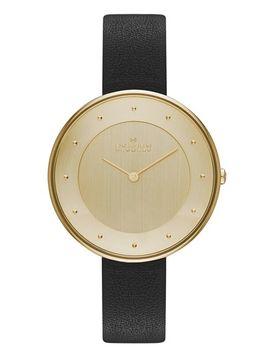 gitte-round-slim-leather-strap-watch,-38mm by skagen