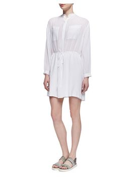 drawstring-waist-easy-shirtdress,-white by vince