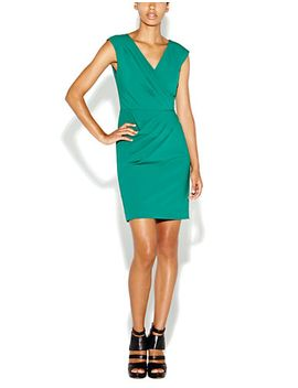 asymmetrical-pleated-cap-sleeve-dress by nicole-miller