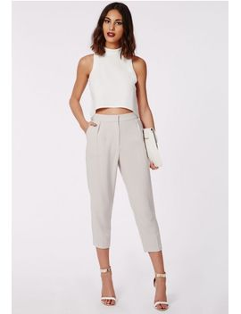 marrie-cropped-tapered-pants-grey by missguided