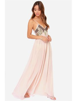 top-of-the-world-peach-sequin-maxi-dress by lulus