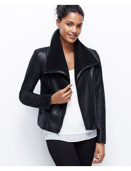 faux-leather-and-shearling-jacket by ann-taylor