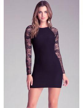 raglan-lace-sleeve-dress by bebe