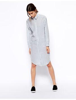 asos-white-silk-shirt-dress-in-stripe-print by asos-collection