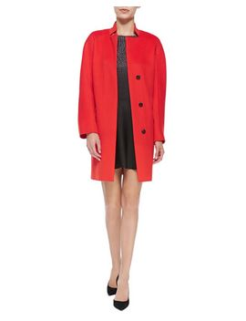 long-coat-w_-stand-collar-&-short-sleeve-printed-ombre-mini-dress by halston