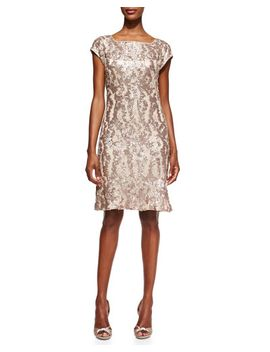 patterned-sequined-overlay-cocktail-dress by sue-wong