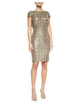 cowl-back-sequined-cocktail-dress by badgley-mischka