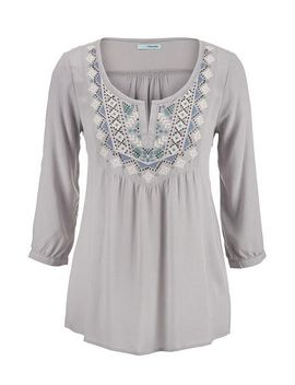 gray-embroidered-henley-peasant-top by maurices