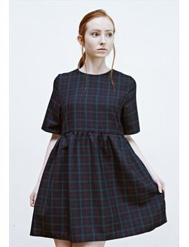 beatrice-navy-check-smock-dress by no-brand-name