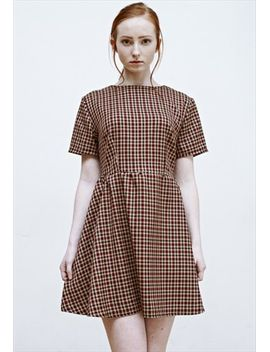 hanna-red-and-beige-check-skater-dress by no-brand-name