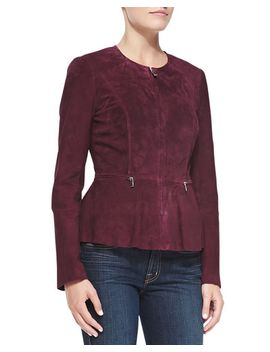 suede-zip-front-peplum-jacket by nm-exclusive