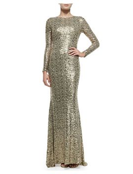 long-sleeve-sequined-cowl-back-gown by badgley-mischka