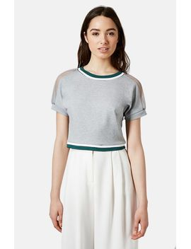 contrast-trim-mesh-inset-tee by topshop