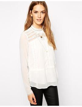 vila-lace-high-neck-blouse by vila
