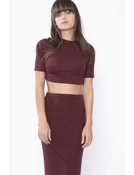 Burgundy Short Sleeve Crop by 90s Lullaby