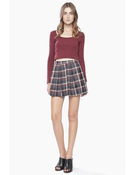 Burgundy Plaid Pleated  Skirt by 90s Lullaby