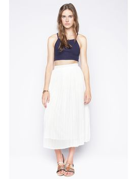 White Pleated Midi Skirt by 90s Lullaby