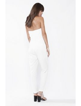 White Strapless Jumpsuit by 90s Lullaby