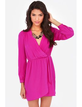 thats-a-wrap-magenta-long-sleeve-dress by lulus
