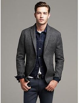heritage-gray-herringbone-wool-blazer by banana-repbulic