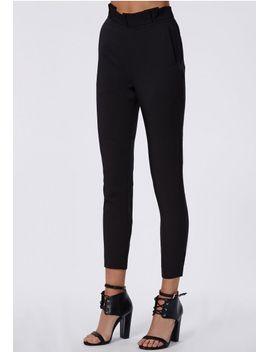 sammie-pleated-waist-cigarette-trousers-black by missguided