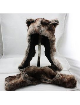 hood-brown-bear-faux-fur-animal-hood-hoodie-3-in-1-function-w_scarf--new by unbranded_generic