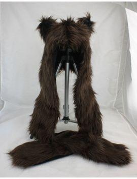 cool-faux-fur-full-brown-bear-animal-hood-hat-long-cap-3-in-1-function-us-sell by unbranded
