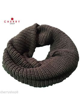 women-men-winter-warm-infinity-two-loop-cable-knit-scarf-grey by ebay-seller
