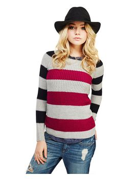 two-tone-stripe-waffle-knit-sweater by wet-seal