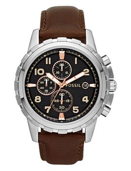 notched-bezel-leather-strap-chronograph-watch,-45mm by fossil
