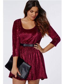plus-size-crushed-velvet-skater-dress-burgundy by missguided
