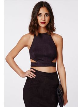 magdelan-faux-suede-cut-out-top-black by missguided
