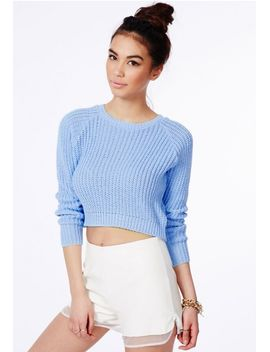 berte-cropped-jumper-in-blue by missguided