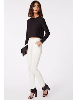 tarissa-tailored-crepe-trousers-white by missguided