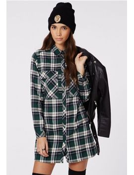 emerey-oversized-shirt-dress-green-tartan by missguided