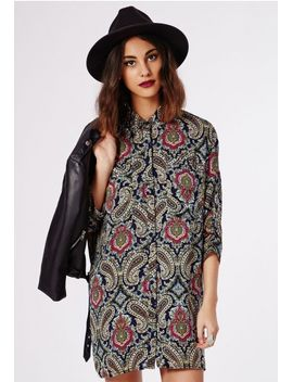 aleyna-button-up-shirt-dress-paisley-print by missguided