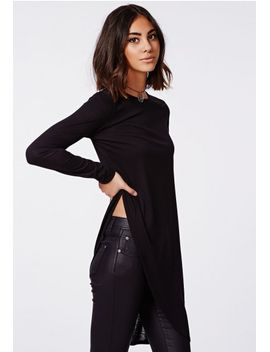 soreenah-long-sleeve-asymmetric-jersey-top-black by missguided