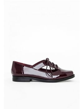chloe-cut-out-lace-up-brogues-burgundy by missguided